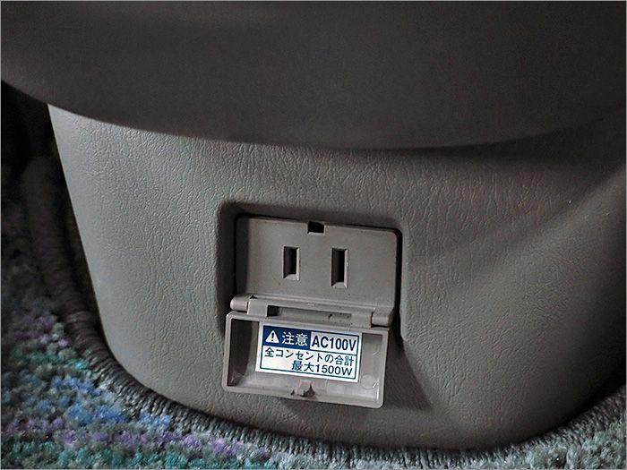 100V電源が使用できます。合計1500Wまで。